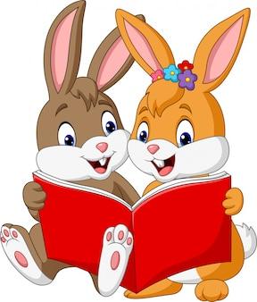Caricatura, par, de, coelhos, lendo um livro