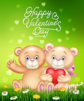 Caricatura, par romântico, de, urso teddy