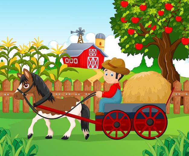 Caricatura, pequeno menino, conduzir, cavalo carruagem