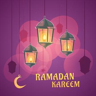 Caricatura, ramadan, lanterna, ilustração