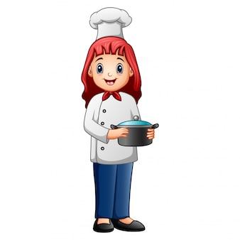 Caricatura, sorrindo, um, cozinheiro mulher, em, uniforme