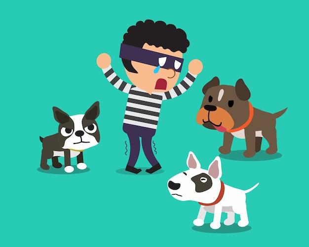 Caricatura, um, ladrão, e, cachorros