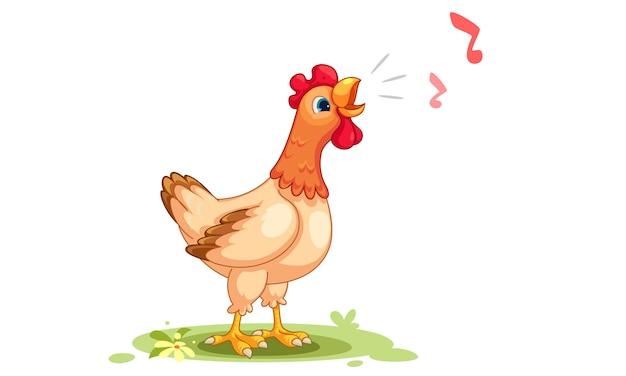 Caricatura, vetorial, ilustração, de, galinha