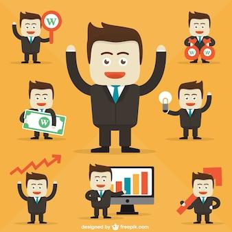 Caricaturas de personagens empresário