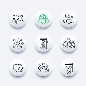 Caridade, conjunto de ícones de linha de doação