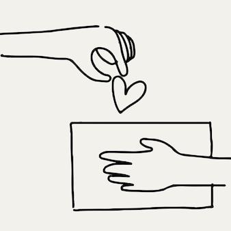 Caridade doodle vetor mão dando coração / dinheiro, conceito de doação