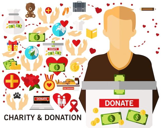 Caridade e doação conceito fundo. ícones planas.