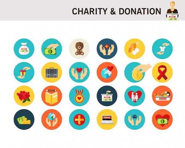 Caridade e doação conceito plana ícones.