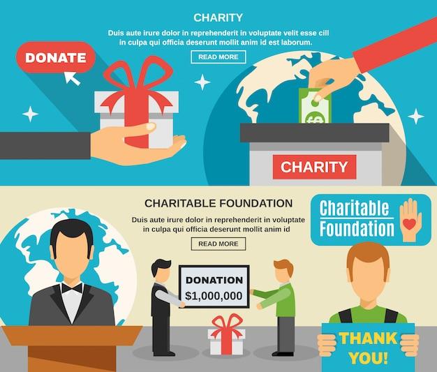 Caridade e doações banners set