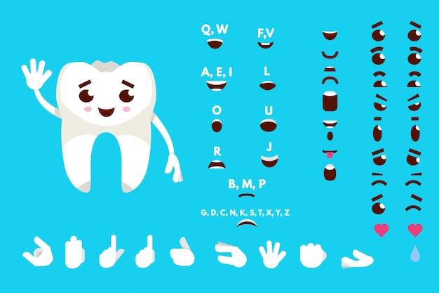Cárie, sorrindo, dente, animado, personagem