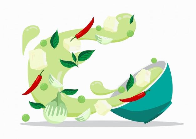 Caril verde com frango. projeto de vetor de comida.