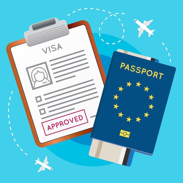 Carimbo aprovado no documento do visto da eurozone europe. passaporte com bilhete de aeronave de voo. selo de imigração de viagens. ilustração vetorial.