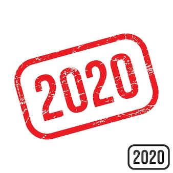 Carimbo de borracha 2020 com textura grunge