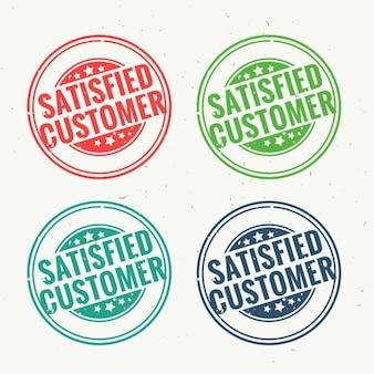 Carimbo de borracha cliente satisfeito definido em quatro cores diferentes
