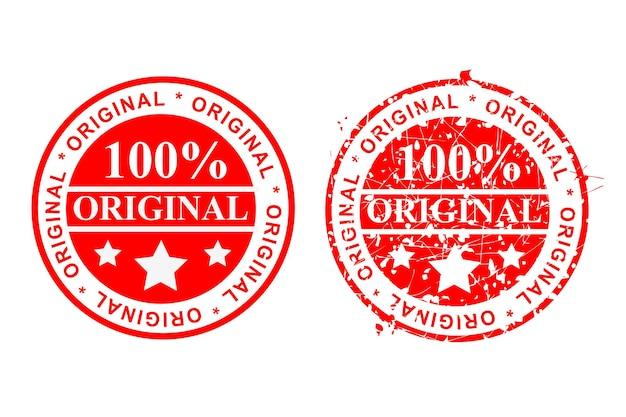 Carimbo de borracha de círculo limpo e ferrugem vermelha, estilo simples vector 2, 100% original, isolado no branco