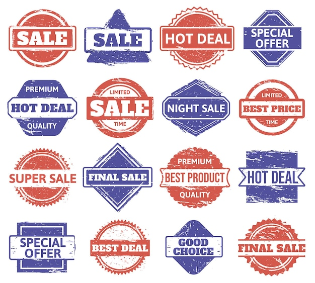 Carimbo de borracha de venda. emblemas de desconto em compras vintage, venda de textura grunge, selos de produtos de qualidade