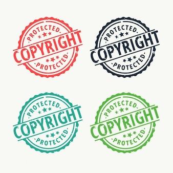 Carimbo de borracha emblema copyright ajustado em cores diferentes