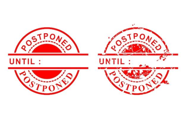 Carimbo de borracha grunge de círculo vermelho de vetor simples de 2 estilos, adiado até, limpo e enferrujado, isolado no branco