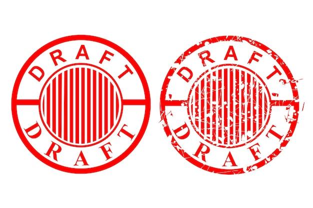 Carimbo de borracha vermelho simples de vetor, rascunho, em isolado no branco