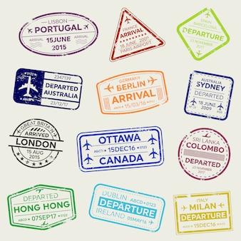 Carimbo de passaporte de visto de viagens de negócios internacionais.