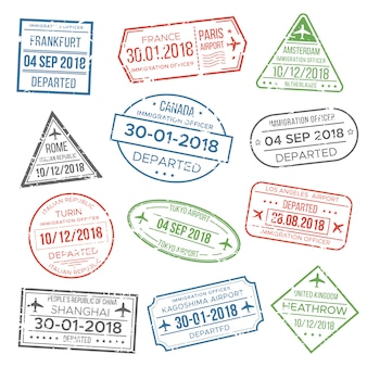 Carimbo de passaporte visa para viajar.