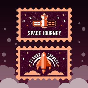 Carimbo de postagem com foguete no espaço e selo do grunge