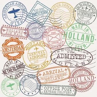 Carimbo de qualidade de passaporte postal amsterdam holland