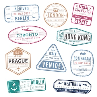 Carimbo de viagem. internacional de visto de passaporte vintage chegou selos com textura grunge. conjunto
