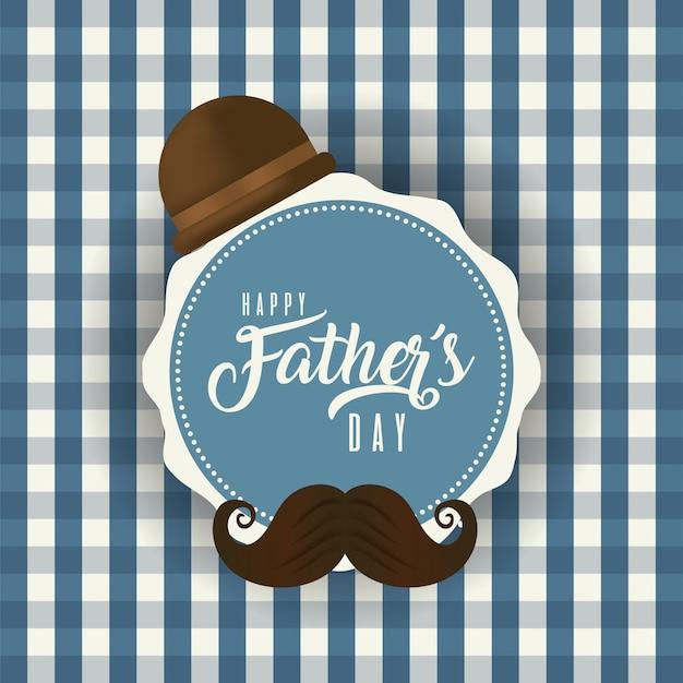 Carimbo do selo com chapéu e bigode do dia dos pais