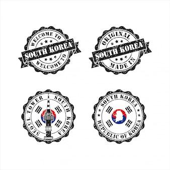 Carimbo original mede na coleção de coreia do sul de seul