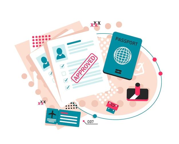 Carimbo passaporte flat iconpassport com dados biométricos documento de identificação e carimbo