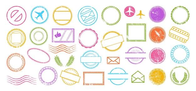 Carimbo postal moldura grunge conjunto colorido carimbo postal