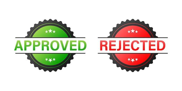 Carimbos de borracha de vetor aprovados e rejeitados