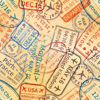 Carimbos de borracha para vistos de viagens internacionais