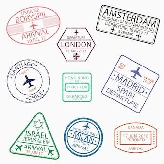 Carimbos de passaporte de visto para viajar para canadá ucrânia holanda grã-bretanha chile hong kong