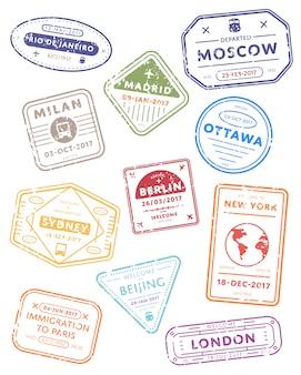 Carimbos de visto de viagem internacional.