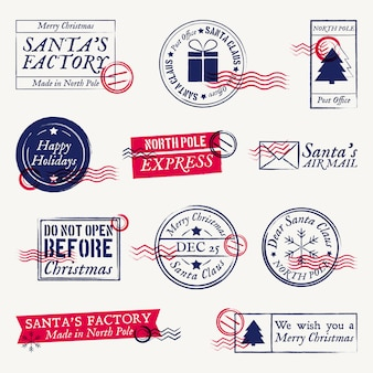 Carimbos postais de natal, conjunto de selos de papai noel