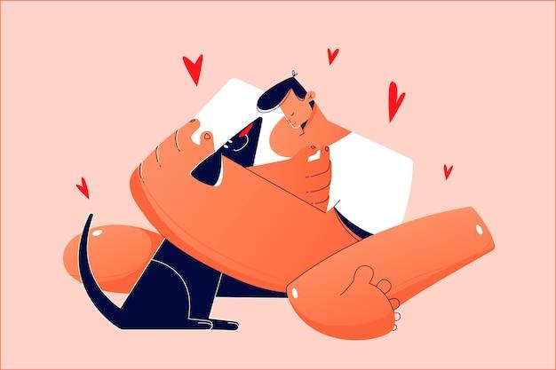 Carinho, amor, propriedade, conceito de animal de estimação. jovem feliz sorrindo animado criança menino garoto proprietário personagem de desenho animado segurando cachorro amigo animal doméstico nas mãos. responsabilidade e cuidado com a ilustração do filhote de cachorro.