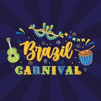 Carnaval brasil com máscara e violão com bateria