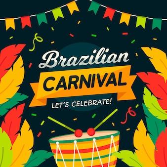 Carnaval brasileiro colorido em design plano
