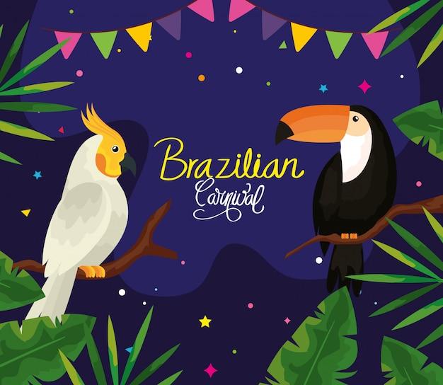Carnaval brasileiro com design de ilustração vetorial papagaio e tucano