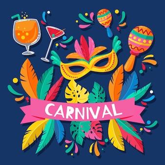 Carnaval brasileiro com ilustração de elementos festivos