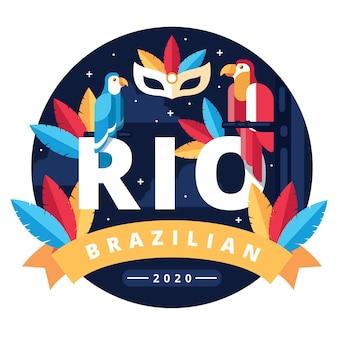 Carnaval brasileiro com papagaios coloridos