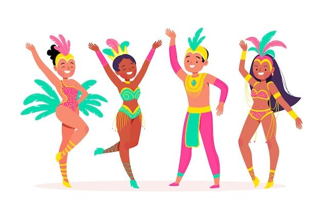 Carnaval brasileiro dançando e passando um tempo sorrindo