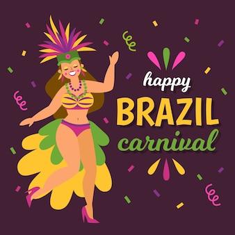 Carnaval brasileiro de design plano com mulher e confetes