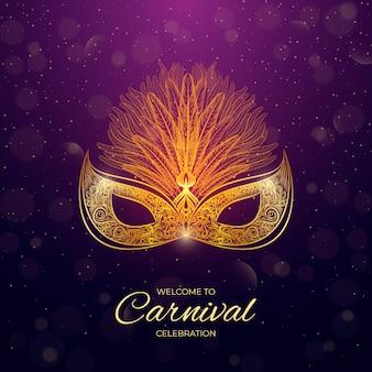 Carnaval brasileiro de estilo realista com máscara