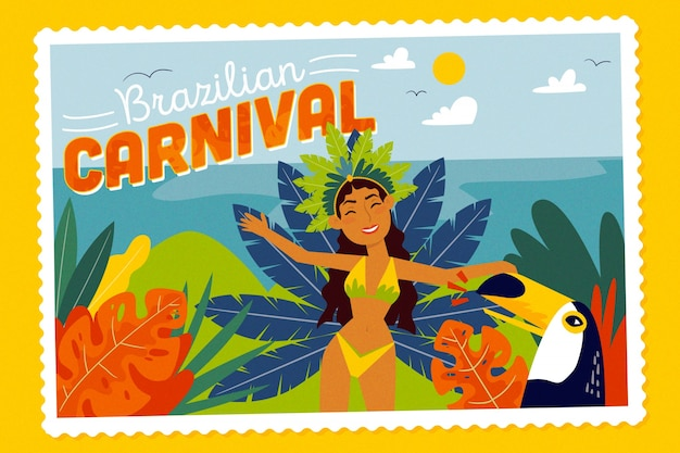 Carnaval brasileiro de mão desenhada com dançarina