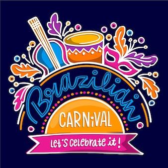 Carnaval brasileiro de mão desenhada com instrumentos musicais