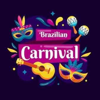 Carnaval brasileiro de mão desenhada