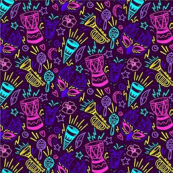 Carnaval brasileiro de padrão sem costura em cores vivas
